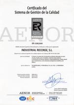 Certificado calidad aenor industrial recense