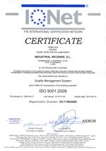 Certificado calidad iqnet industrial recense